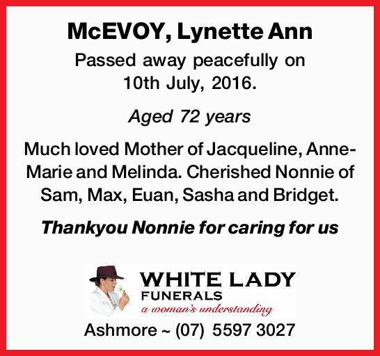 McEVOY, Lynette Ann 