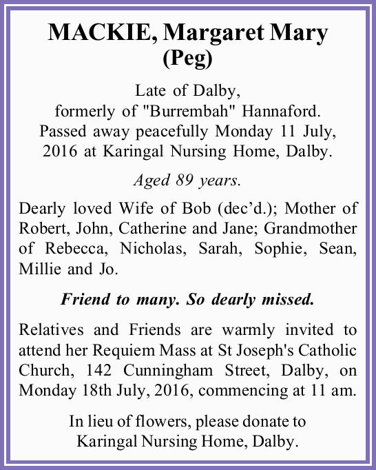 "Late of Dalby, formerly of ""Burrembah"" Hannaford.