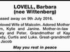 LOVELL, Barbara (nee Wittenberg)