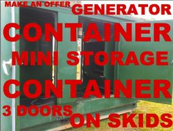 GENERATOR CONTAINER / MINI STORAGE ON SKIDS - 3 DOORS - VENTILATED BOTH END Suit Generator house,  M...