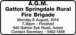 Monday 8 August, 2016 7.30pm - Fireshed 940 Gatton Esk Road, Adare   Contact Secretary...