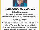 LANGFORD, Mavis Emma