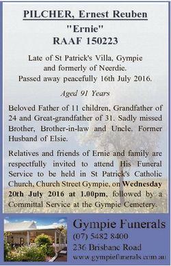"PILCHER, Ernest Reuben ""Ernie"" RAAF 150223 Late of St Patrick's Villa, Gympie and form..."