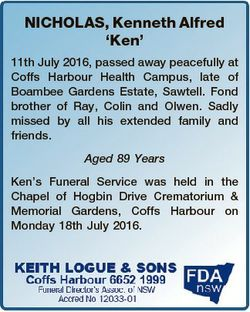 NICHOLAS, Kenneth Alfred `Ken' 11th July 2016, passed away peacefully at Coffs Harbour Health Ca...