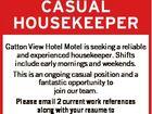 CASUAL HOUSEKEEPER