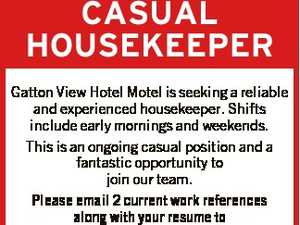 Gatton View Hotel Motel is seeking a reliable and experienced housekeeper. Shifts include early mornings and weekends.