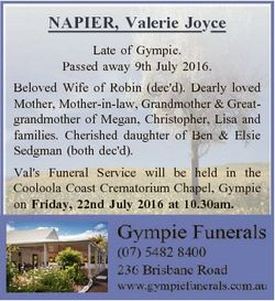 NAPIER, Valerie Joyce Late of Gympie. Passed away 9th July 2016. Beloved Wife of Robin (dec'd)....