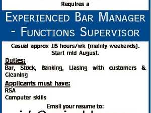 WHITSUNDAY MARINE CLUB Requires a EXPERIENCED BAR MANAGER - FUNCTIONS SUPERVISOR Casual approx 18 hours/wk (mainly weekends). Start mid August. Duties: Bar, Stock, Banking, Liasing with customers & Cleaning Applicants must have: RSA Computer skills Email your resume to: info@marineclub.com.au Applications close Friday 29th July.