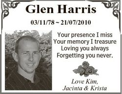 Glen Harris 03/11/78  21/07/2010 Your presence I miss Your memory I treasure Loving you always Forge...