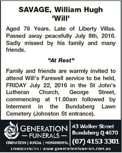 SAVAGE, William Hugh 'Will' Aged 76 Years. Late of Liberty Villas. Passed away peacefully Ju...