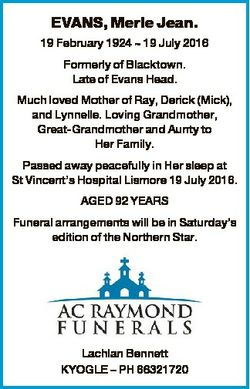 EVANS, Merle Jean. 19 February 1924  19 July 2016 Formerly of Blacktown. Late of Evans Head. Much lo...