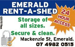 EMERALD RENT-A-SHED 24 6297978aa ho Storage of acceur ss all sizes. Secure & clean. Mackenzie St...