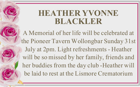 HEATHER YVONNE BLACKLER