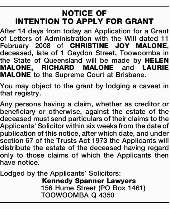 After 14 days from today an Application for a Grant of Letters of Administration with the Will da...