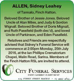 ALLEN, Sidney Leahey of Tannalo, Finch Hatton. Beloved Brother of Jessie Jones. Beloved Uncle of Ala...