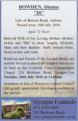 """BOWDEN, Dianne """"Di"""" Late of Benson Road, Araluen. Passed away 18th July 2016. Aged 72 Year..."""