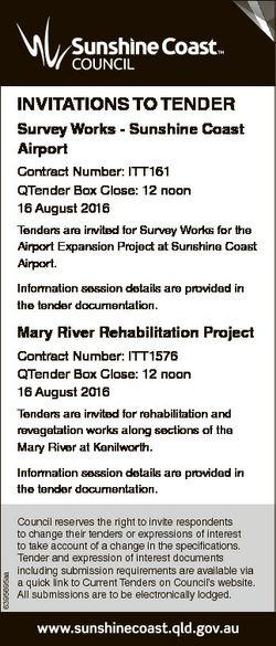INVITATIONS TO TENDER Survey Works - Sunshine Coast Airport Contract Number: ITT161 QTender Box Clos...