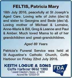 FELTIS, Patricia Mary 18th July 2016, peacefully at St Joseph's Aged Care. Loving wife of John (...