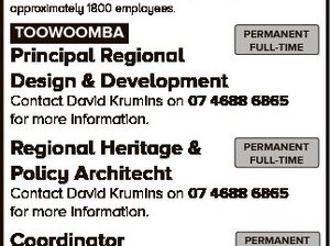 JOBS AT council Toowoomba Regional Council administers a diverse range of community services to a region rich in resources and opportunities. Sympathetic to the work life balance, Council offers stable and expanding employment options to its approximately 1800 employees. TOOWOOMBA Principal Regional Design & Development PERMANENT FULL-TIME Contact David Krumins on ...