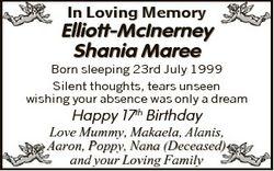 In Loving Memory Elliott-McInerney Shania Maree Born sleeping 23rd July 1999 Silent thoughts, tears...