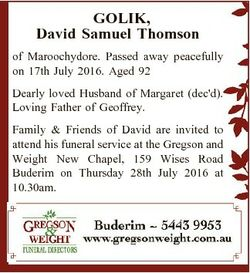 GOLIK, David Samuel Thomson of Maroochydore. Passed away peacefully on 17th July 2016. Aged 92 Dearl...