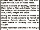 HAYES, Colin Michael Passed away peacefully 20th July 2016. Aged 80 Years. Late of Tweed Heads. Beloved husband of Beverley, brother to Mary, father to Alan and Angela. Father in law to Megan and John and grandfather to Sam, Amos, Morgan and Bryce. Family and friends of Colin are invited ...