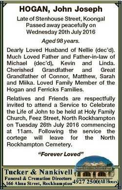 HOGAN, John Joseph Late of Stenhouse Street, Koongal Passed away peacefully on Wednesday 20th July 2...