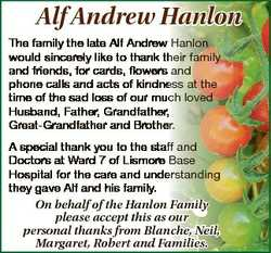 Alf Andrew Hanlon The family the late Alf Andrew Hanlon would sincerely like to thank their family a...
