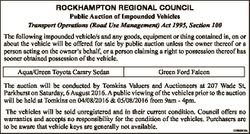 ROCKHAMPTON REGIONAL COUNCIL Public Auction of Impounded Vehicles Transport Operations (Road Use Man...