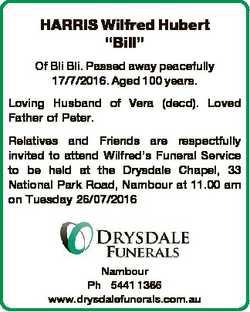 """HARRIS Wilfred Hubert """"Bill"""" Of Bli Bli. Passed away peacefully 17/7/2016. Aged 100 years...."""