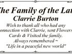 """The Family of the Late Clarrie Burton Wish to thank all who had any connection with Clarrie, sent Flowers, Cards & Visited the family. Always remembered  """"Life in a peaceful new world"""""""