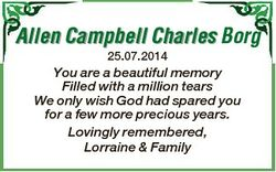 Allen Campbell Charles Borg 25.07.2014 You are a beautiful memory Filled with a million tears We onl...