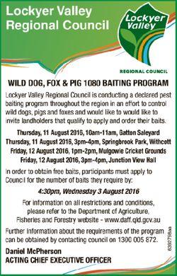 WILD DOG, FOX & PIG 1080 BAITING PROGRAM       Lockyer Valley Regional Council is con...