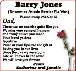 Barry Jones (Known as Aussie Battler Pie Van) Passed away 25/7/2015 There was no one else quite like...