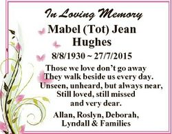 In Loving Memory Mabel (Tot) Jean Hughes 8/8/1930  27/7/2015 Those we love don't go away They wa...