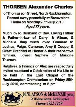 THORSEN Alexander Charles of Thomasson Street, North Rockhampton. Passed away peacefully at Benevole...