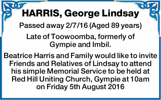 Passed away 2/7/16 (Aged 89 years) Late of Toowoomba, formerly of Gympie and Imbil. Beatrice Harr...