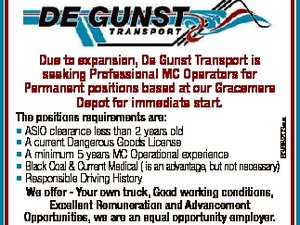 Due to expansion, De Gunst Transport is seeking Professional MC Operators for Permanent positions based at our Gracemere Depot for immediate start. 6368203aa The positions requirements are: * ASIO clearance less than 2 years old * A current Dangerous Goods License * A minimum 5 years MC Operational experience * Black Coal & Current Medical ...