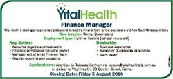 Finance Manager Vital Health is seeking an experienced professional to lead the Finance Team for the...