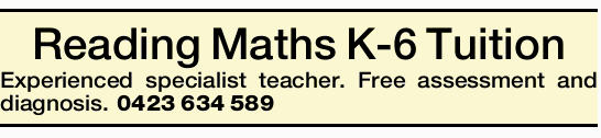 Reading Maths K-6 Tuition 