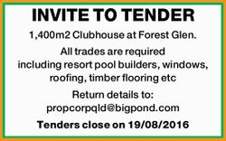 INVITE TO TENDER    1,400m2 Clubhouse at Forest Glen.   All trades are requiredincl...