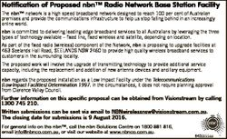 Notification of Proposed nbnTM Radio Network Base Station Facility The nbnTM network is a high speed...