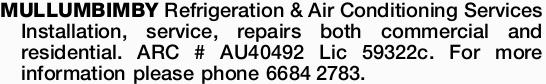 Installation, service, repairs both commercial and residential. ARC # AU40492 Lic 59322c. ...