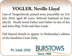 Late of Toogoolawah, passed away peacefully on 31 July, 2016 aged 88 years.   Beloved husband...
