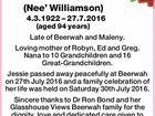 LAWLEY, Jessie Marion (Nee' Williamson)