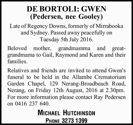 Late of Regency Downs, formerly of Mirrabooka and Sydney. Passed away peacefully on Tuesday...