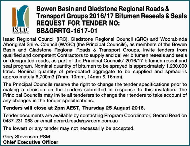 Bowen Basin and Gladstone Regional Roads & Transport Groups 2016/17 Bitumen Reseals & Sea...