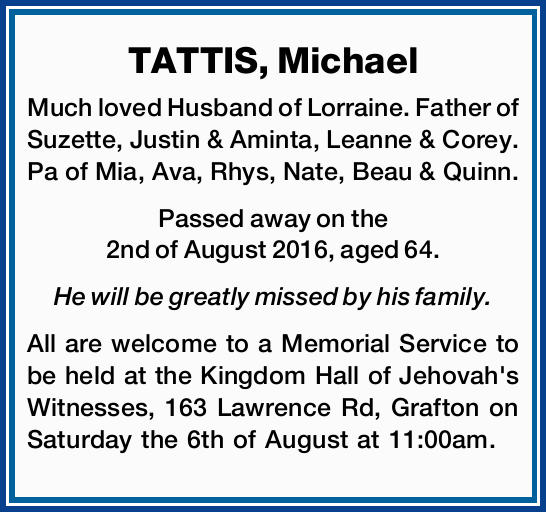 Much loved Husband of Lorraine. Father of Suzette, Justin & Aminta, Leanne & Corey. Pa of...