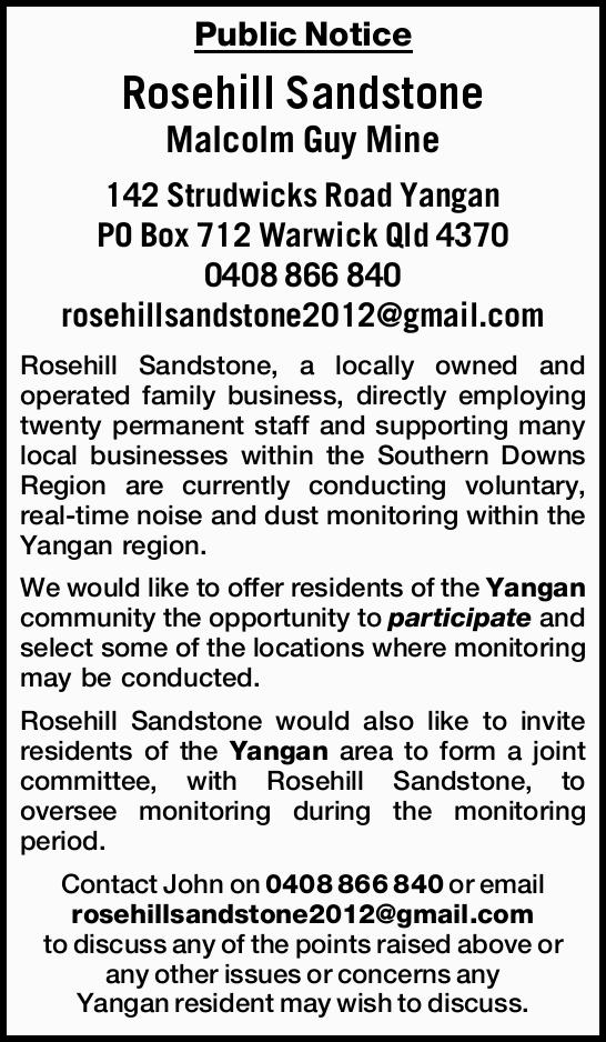 Malcolm Guy Mine 142 Strudwicks Road Yangan PO Box 712 Warwick Qld 4370 0408 866 840 rosehi...