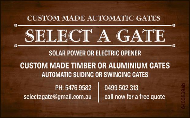 SELECT A GATE    SOLAR POWER OR ELECTRIC OPENER   Custom Made Timber or Aluminium Gat...